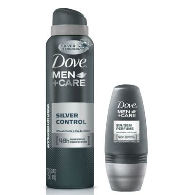 Kit Dove Men Care Desodorante Aerosol Silver Control 89g + Desodorante Roll On Sem Perfume 50ml