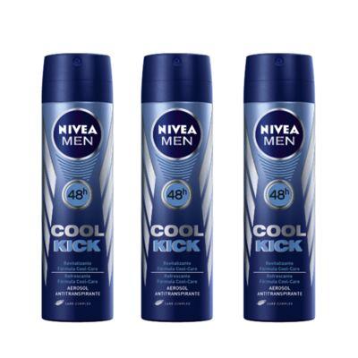 Imagem 1 do produto Desodorante Nivea Aerosol Aqua Cool Masculino 90ml 3 Unidades
