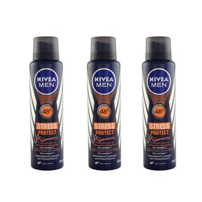 Imagem 1 do produto Desodorante Nivea Stress Protect Masculino Aerosol 90g 3 Unidades