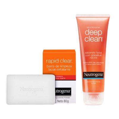 Neutrogena Deep Clean em Gel Grapefruit 150g + Sabonete Esfoliante Facial Neutrogena Rapid Clear 80g