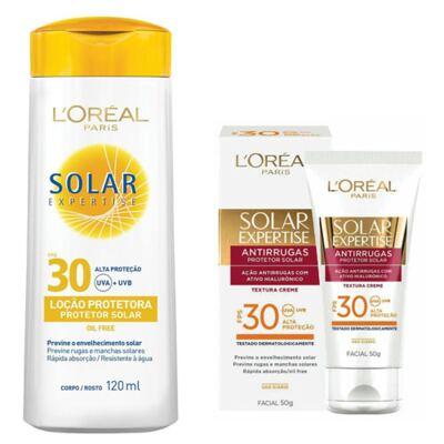 Protetor Solar L'Oréal Expertise FPS 30 120ml e Facial FPS 30 50ml