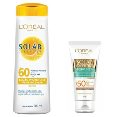 Imagem 1 do produto Protetor Solar L'Oréal Expertise FPS 60 e Facial Toque Seco com Cor FPS 50
