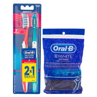 Imagem 1 do produto Kit Oral-B 2 Escovas Pró-Saúde 7 Benefícios 40 + Fio Dental Flexível Hastes 75 Unidades
