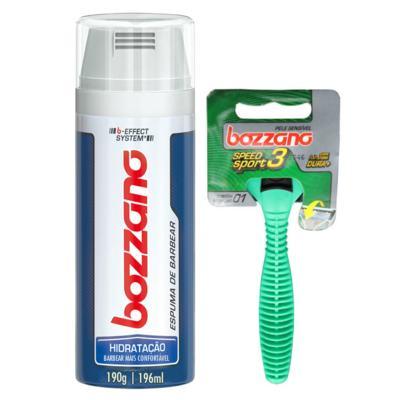 Kit Bozzano Espuma de Barbear Hidratação 196ml + Aaparelho de Barbear Speed 3