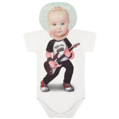Body curto para bebe em malha Mini Rock Star - Mini Mix - MXBSM1610 BODY CURTO EM MALHA MINI ROCK STAR-M