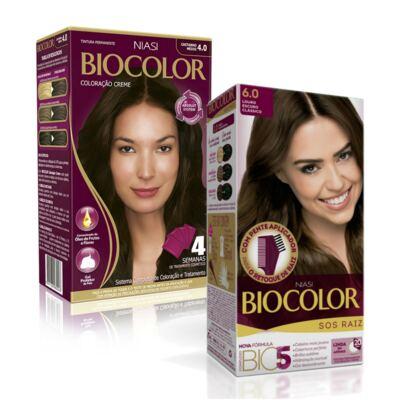 Imagem 1 do produto Kit Biocolor Tintura 4.0 Castanho Médio + S.O.S Raiz Louro Escuro 6.0