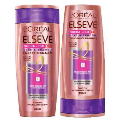 Kit Shampoo + Condicionador L'Oréal Paris Elseve Quera-Liso Leve e Sedoso - Kit