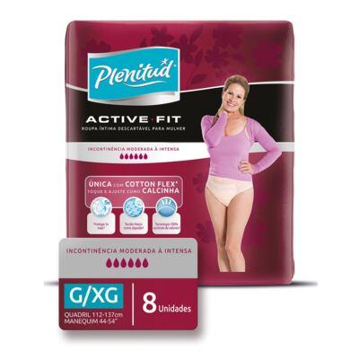 Roupa Íntima Descartável Plenitud Active Fit Feminina G/XG 8 Unidades