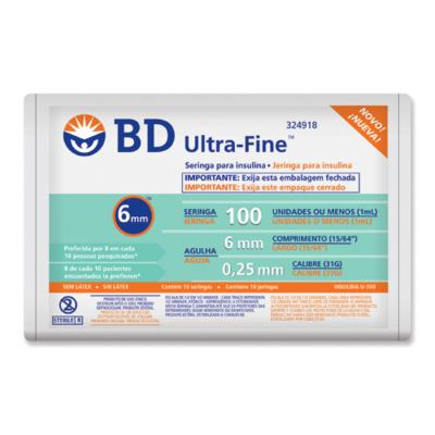 Seringa Insulina BD 1ml 6mm 10 Unidades