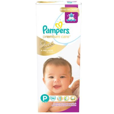 Imagem 1 do produto Fralda Descartável Pampers Premium Care Mega Tamanho P 56 Unidades