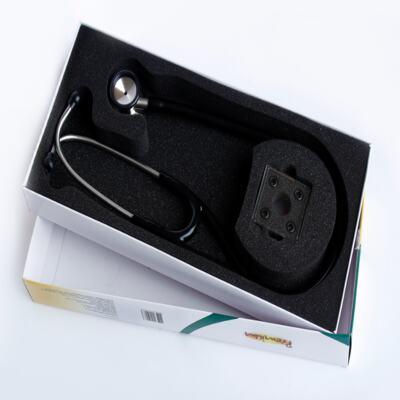 Imagem 3 do produto Kit Esteto Cardiológico Preto com Aparelho de Pressão Rosa Premium