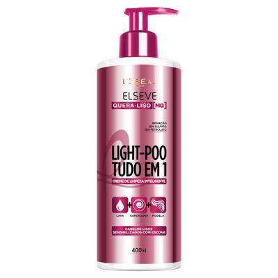 Creme de Limpeza Inteligente Elseve Light-Poo Quera-Liso 400ml