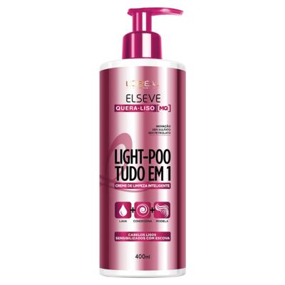 Creme de Limpeza Inteligente Elseve Light-Poo Quera-Liso 400ml