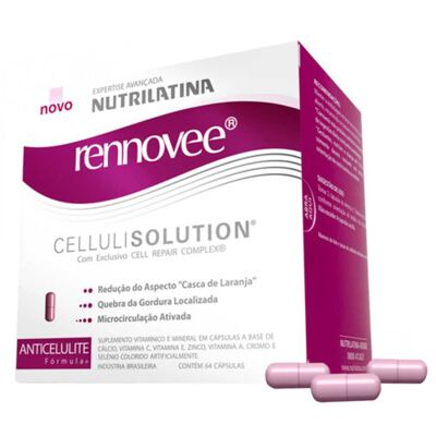 Rennovee Cellulisolution Nutrilatina - Suplemento Redutor da Celulite - 64 Cáps