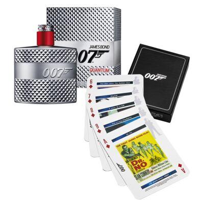 007 Quantum James Bond - Masculino - Eau de Toilette - Perfume + Jogo de Cartas - Kit