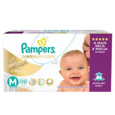 Imagem 1 do produto Fralda Descartável Pampers Premium Care M 72 Unidades