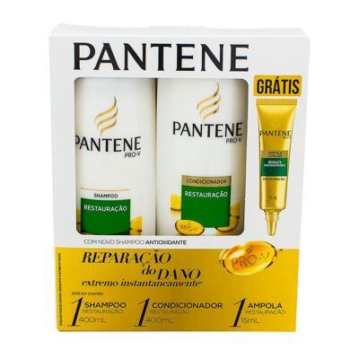Imagem 1 do produto Kit Pantene Restauração Shampoo 400ml + Condicionador 200ml + Ampola de Tratamento 15ml