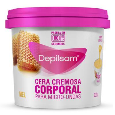 Cera Depilatória Cremosa Corporal Depilsam para Microondas Mel Pote 200g