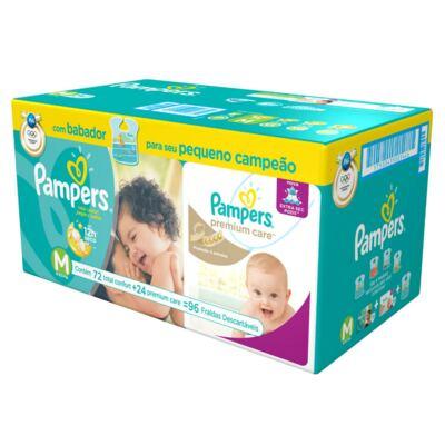 Kit Fralda Pampers Confort Sec M 72 Unidades + 24 Fraldas Premium Care M