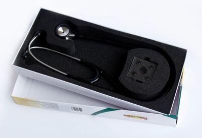 Imagem 3 do produto Kit Esteto Cardiológico Preto com Aparelho de Pressão Azul Premium