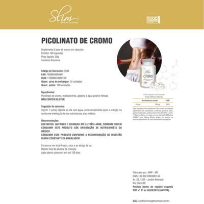 Imagem 2 do produto PICOLINATO DE CROMO 100CAPS - SLIM -
