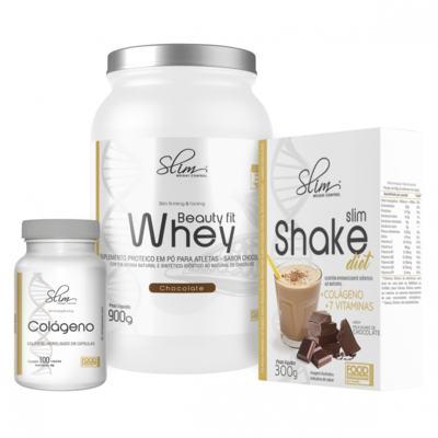 Imagem 1 do produto Kit Slim Beuty Fit Whey Chocolate 900g + Shake Diet Chocolate 300g + Colágeno 100 caps - Slim -