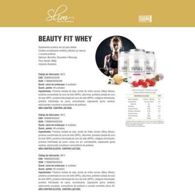 Imagem 4 do produto Kit Slim Beuty Fit Whey Morango 900g + Shake Diet Morango 300g + Colágeno 100 Caps - Slim -