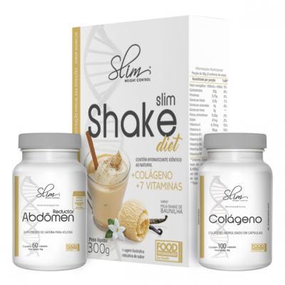Imagem 1 do produto Kit Slim Shake Diet Baunilha 300g + Reductor Abdômen 60 Caps + Colágeno 100 Caps - Slim -