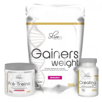 Imagem 1 do produto Kit Slim Gainers Weight Morango 3kg + 01 Pré Treino 250g + 01 Creatina Pura 100g - Slim -