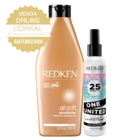 Redken One United + All Soft Conditioner- Leave-In + Condicionador - Kit