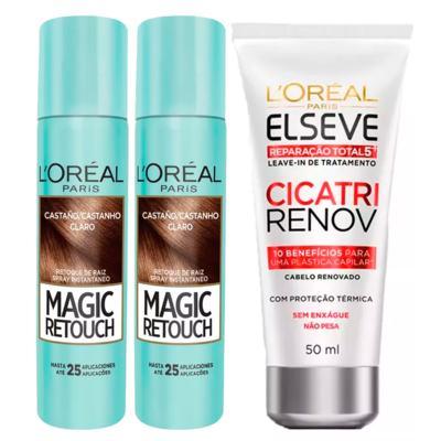 L'Oréal Paris Magic Retouch + Ganhe Cicatri Renov Kit - Leave-In + 2 Corretivos Capilar Castanho Claro - Kit