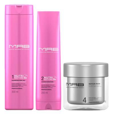 MAB Nutri Restore Reparação Kit - Shampoo + Condicionador + Máscara Capilar - Kit