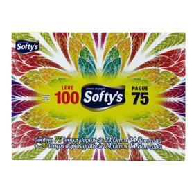 Lenço Softys - Folha Dupla | 100 unidades | Leve 100 Pague 75