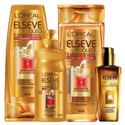 Kit Shampoo + Condicionador + Spray + Creme de Pentear L'Oréal Paris Elseve Óleo Extraordinário Ed. Verão - Kit