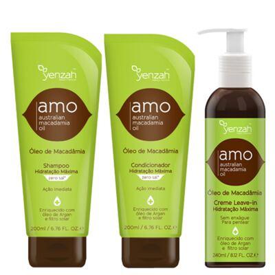 Kit Shampoo + Condicionador + Creme para Pentear Yenzah Amo - Kit