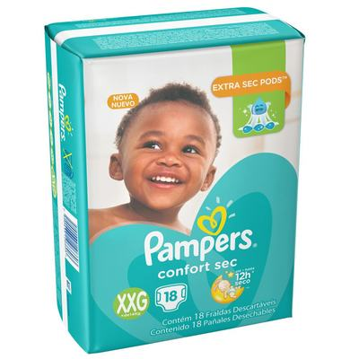 Fralda Pampers Confort Sec Pacotão XXG 18 unidades