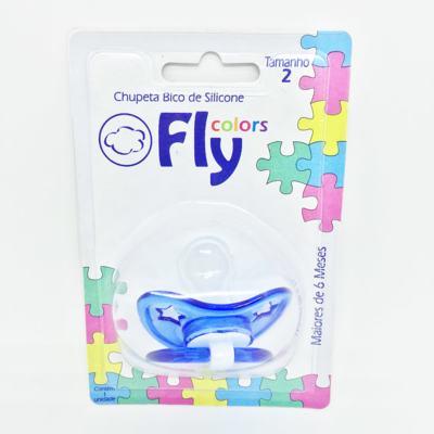 Chupeta Fly Colors Silicone Ortodôntico Azul Escuro + 6 meses Tam 2