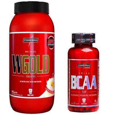 Imagem 1 do produto COMBO WGOLD WHEY 900G MORANGO + BCAA TOP 120CAPS INTEGRALMEDICA .