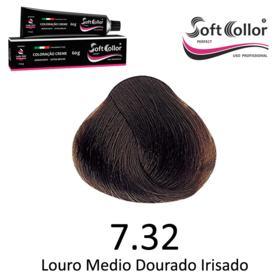 Coloracao Profissional SOFTCOLLOR PERFECT 60g - Cores: Louro Médio - Nuance 7.32 Louro Medio Dourado Irise
