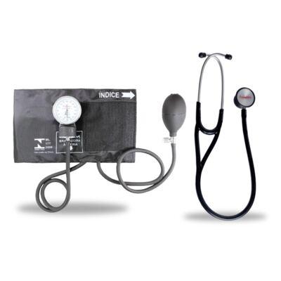 Imagem 6 do produto Kit Esteto Cardiológico Preto com Aparelho de Pressão Preto Premium