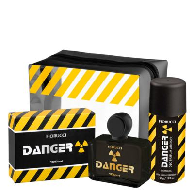 Danger Fiorucci - Masculino - Deo Colônia - Perfume + Desodorante Spray + Necessaire - Kit