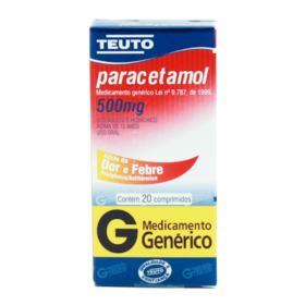 Paracetamol Genérico Teuto - 500mg | 20 comprimidos