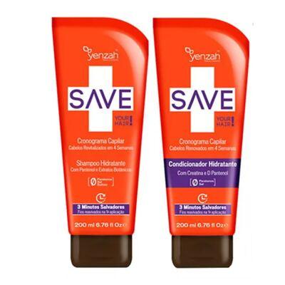 Imagem 2 do produto Kit Shampoo + Condicionador + Creme de Pentear + Máscara Yenzah Save Cronograma Capilar - Kit