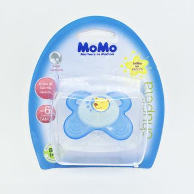 Imagem 1 do produto Chupeta Momo Brilha no Escuro Silicone Redondo Azul 0 - 6 meses Tam 1