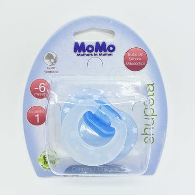 Chupeta Momo Silicone Ortodôntico Azul 0 - 6 meses Tam 1