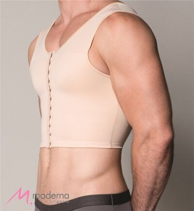 Imagem 3 do produto Corpete Masculino Curto com Abertura Frontal Ref 3306 Cinta Moderna - Corpete Masculino Curto Ref 3306 Moderna Bege P
