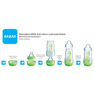 Imagem 3 do produto Mamadeira MAM First Bottle Bico de Silicone Ortodôntico Silk Touch Desenhos Sortidos 160ml 0+ Meses Boys