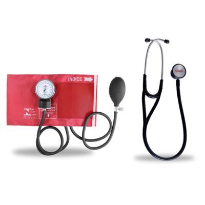 Imagem 6 do produto Kit Esteto Cardiológico Preto com Aparelho de Pressão Vermelho Premium