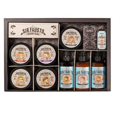 Sir Fausto Grande Kit -  Pós-Barba + Shampoo + Óleo + Creme + Pomadas - Kit