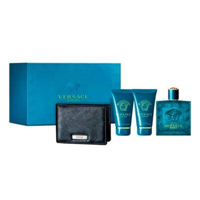 Versace Eros Versace - Masculino - Eau de Toilette - Perfume  + Loção Pós Barba + Gel de Banho + Carteira Preta - Kit